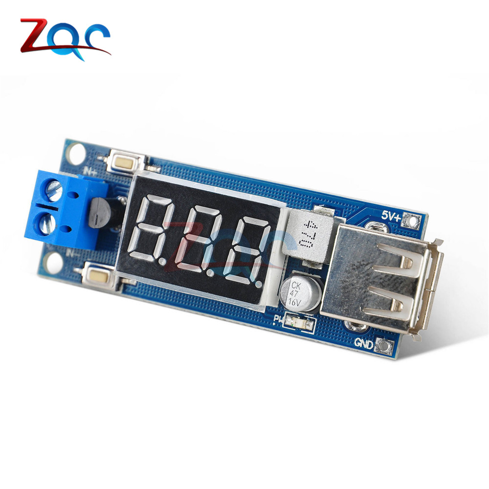 DC-DC 4.5-40V To 5V 2A USB Charger LED Step-down Buck Converter Voltmeter Module Low Power