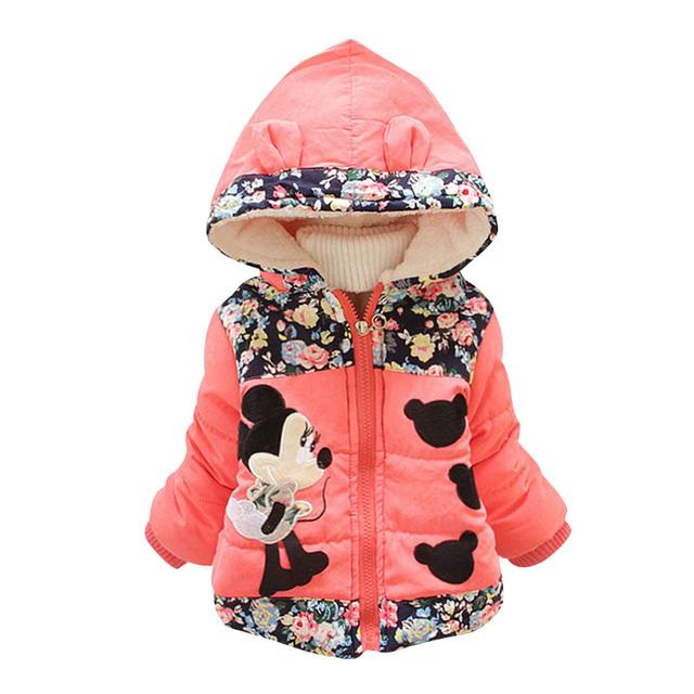 2017 Nuevo Otoño Abrigo de Invierno para Niñas de Dibujos Animados prendas de Vestir Exteriores del Algodón de Invierno Con Capucha gruesa Abrigos Niñas Ropa de Invierno Abajo 3 Color