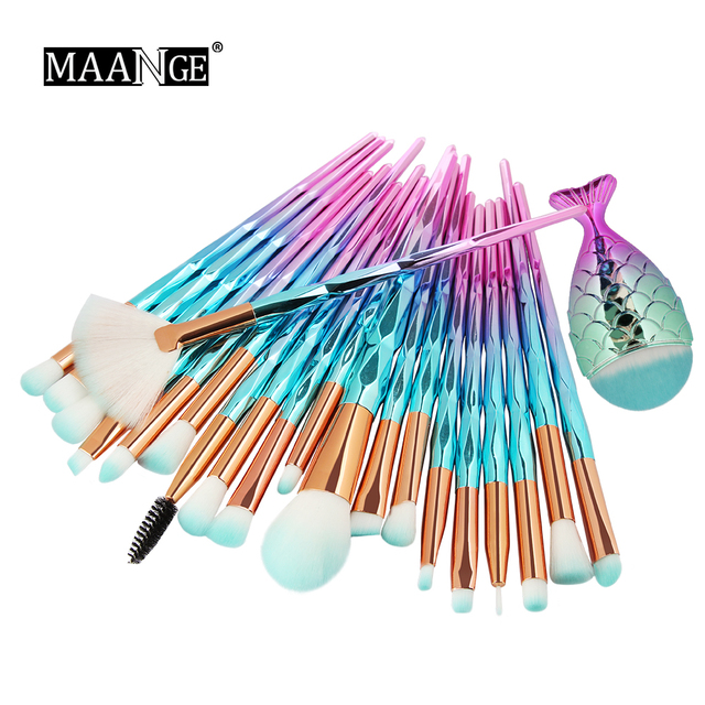 Hot 11/21pcs Mermaid Diamond Makeup Brush Set Fish Tail Foundation Blush Eye shadow Make up Brush Contour Blending Brushes Kit