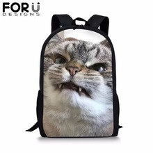 FORUDESIGNS Cute Cat Printed School Bag for Girls 3D Black Backpack Kid Children Bookbag Students Mochila Customize Image