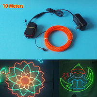 Hot 10 Colors Optional AC100 220V 2.3mm 10M EL wire glowing rope tube flexible LED neon Holiday lighting Toys House decoration