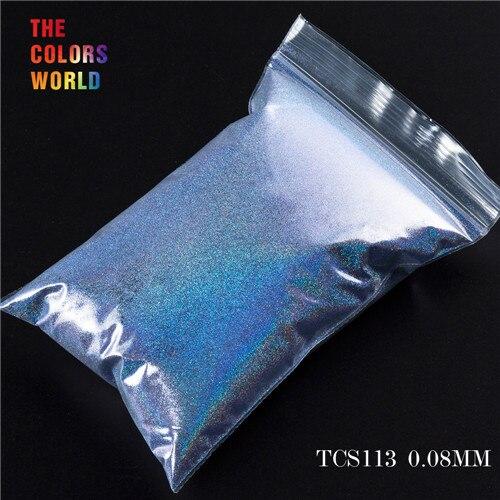 TCT-070 голографическая цветная устойчивая к растворению блестящая пудра для дизайна ногтей Гель-лак для ногтей тени для макияжа - Цвет: TCS113  50g