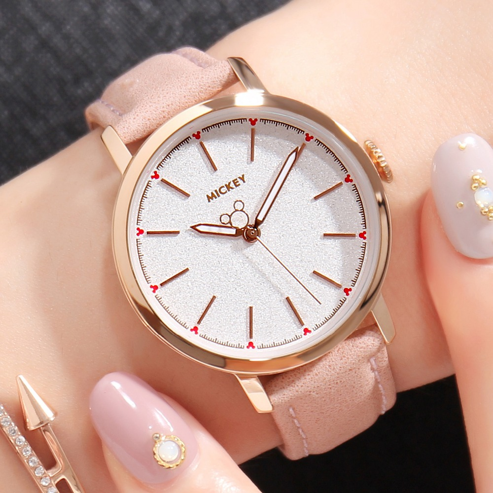 Genuine Disney Brand Watch Women Simple Style Wrist Watch Green Leather Quartz Female Clock Relogio Feminino Montre Femme longbo brand genuine leather lovers quartz watch simple style women men casual watch waterproof relogio masculine feminino clock