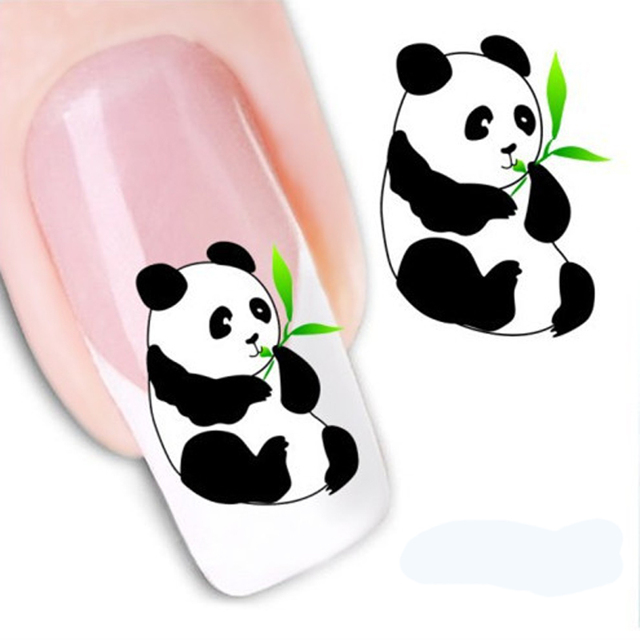5Pcs Cute Panda Stickers For Nails Art Decorations Water Transfer Nail  Stickers Water Decals Nail Design - 5Pcs Cute Panda Stickers For Nails Art Decorations Water Transfer
