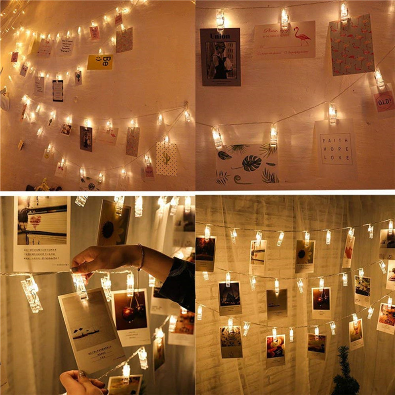 1M 2M 4M Photo Clip Holder LED String Lights Fairy Garland For Christmas New Year Wedding Home Indoor Decoration Battery Powered