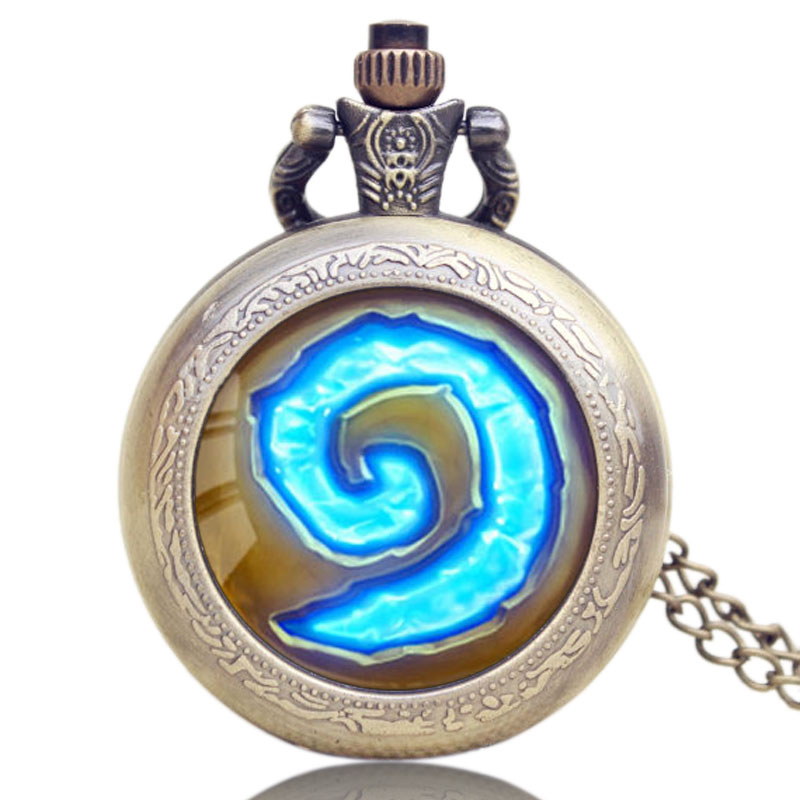 WoW World Of Warcraft Hearthstone Theme Glass Dome Case Quartz Pocket Watch With Chain Necklace Gift For Men Woman