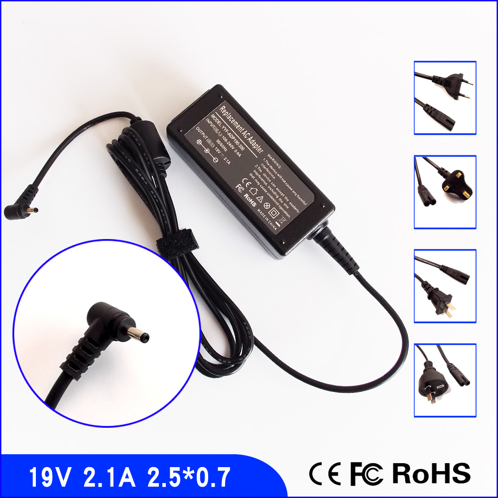19V 2.1A Laptop Ac Adapter Power SUPPLY + Cord for ASUS Eee PC VX6 VX6S <font><b>N17908</b></font> <font><b>V85</b></font> R33030 EXA1004UH AD6630 ADP-40PH AB image