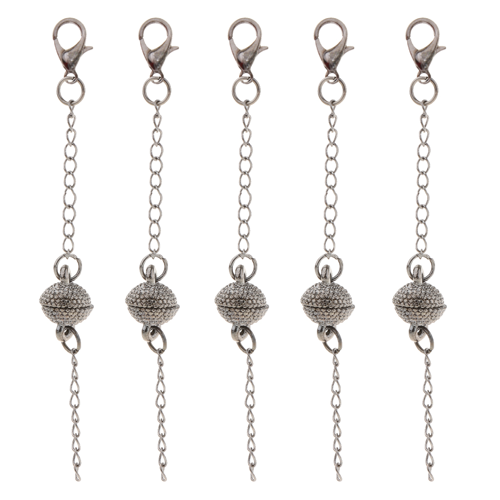 5pcs Powerful Round Magnetic Clasps With Lobster Clasp For Jewelry Findings