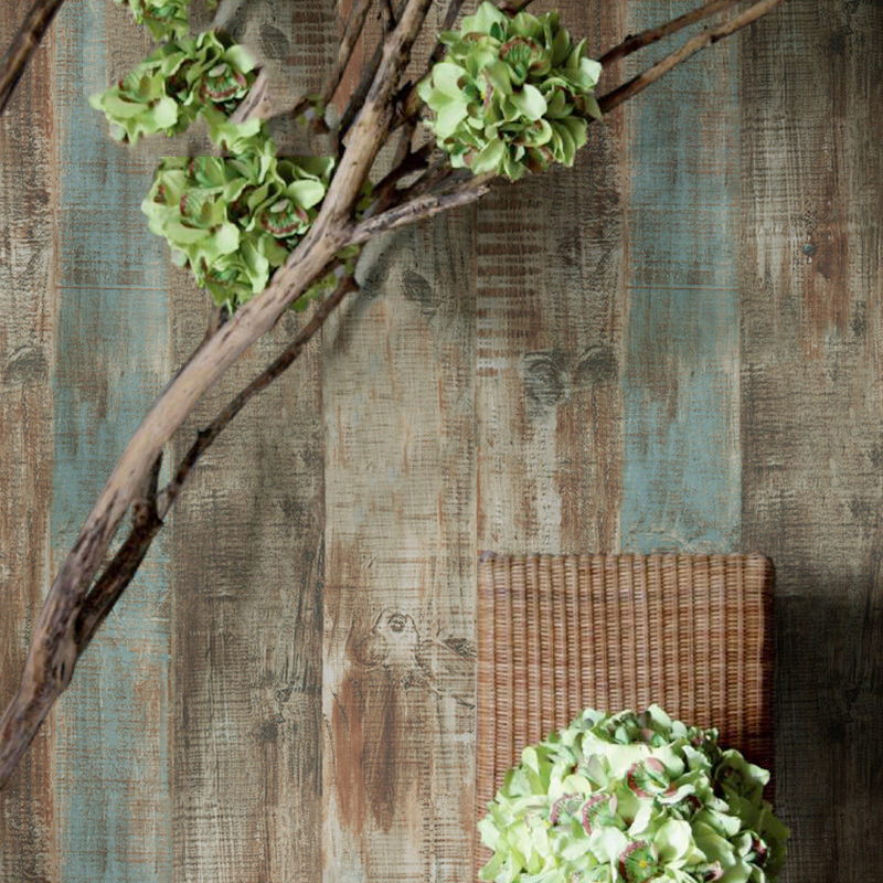 HaokHome Vintage Faux Wood Panel Wallpaper Rolls Blue/Brown 3D Realistic Paper Murals Home Bedroom Living room Wall Decoration
