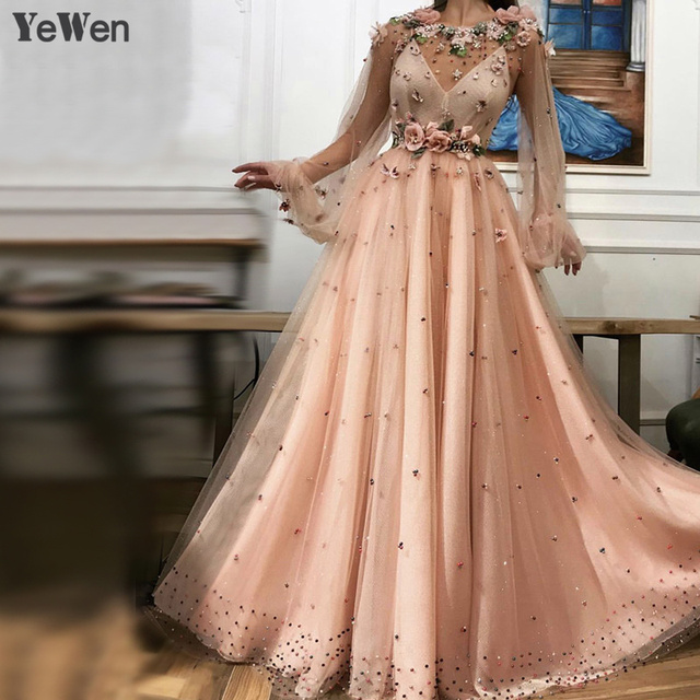 86a26ec25f6a3 Peach Brown Long Sleeve Dubai Evening Dresses Design 2019 Handmade Flowers  Pearls Evening Gowns Lace Special