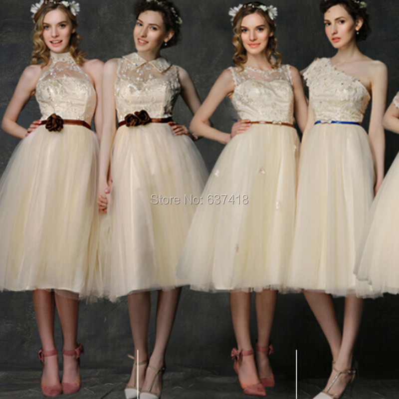 Light champagne short tulle and lace bridesmaid dress six for Champagne lace short wedding dress