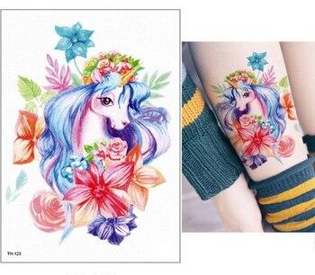 New Cartoon Blue Unicorn Fairy Tales Temporary Tattoo For Children Kids Waterproof Flash Tattoo Sticker Girl Baby Body Art Horse 2