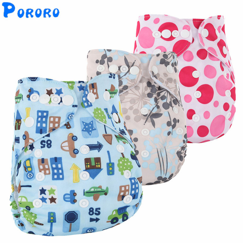 Washable Baby Cloth Diapers 2017 Baby Diaper Cover Wrap Cartoon Print Baby Nappy Reusable Adjustable Baby Cloth Diapers Pockets