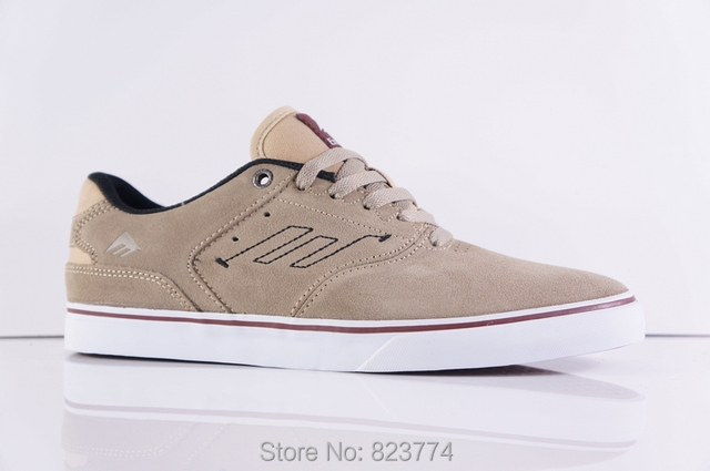 9784ae6c4967 emerica the reynolds low vulc skate shoes tan white color free shipping