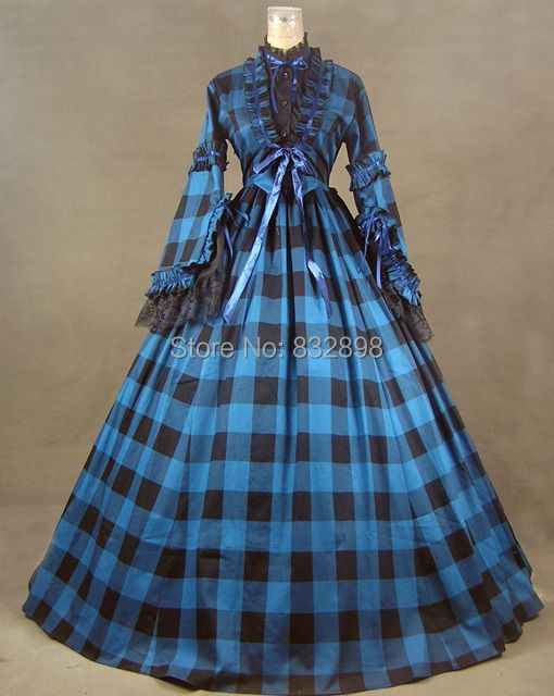 New Civil War Blend Tartan Ball Gown Dress-in Dresses from Women\'s ...