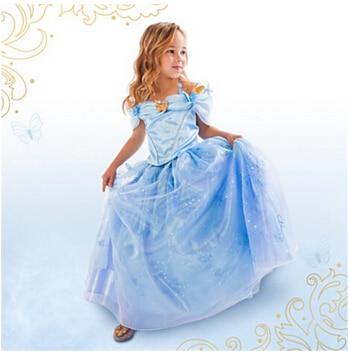Newest Cinderella Kids Dress 2015 Cinderella Cosplay Costume Girl Princess fancy Dress Kids Fairy Tail dress fancy Fantasia
