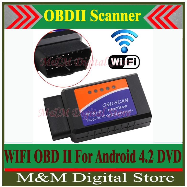 Factory Price Wireless ELM327 WiFi OBD 2 For Android 4.2 Car DVD WiFi ELM327 OBD II Scanner Free Shipping
