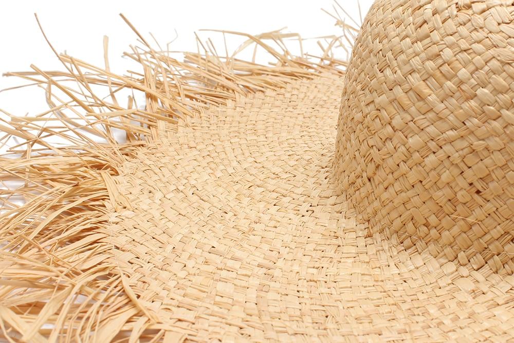 Verano mujeres tassel Sol sombrero con una gran ala señoras rafia ... 38258d26df4