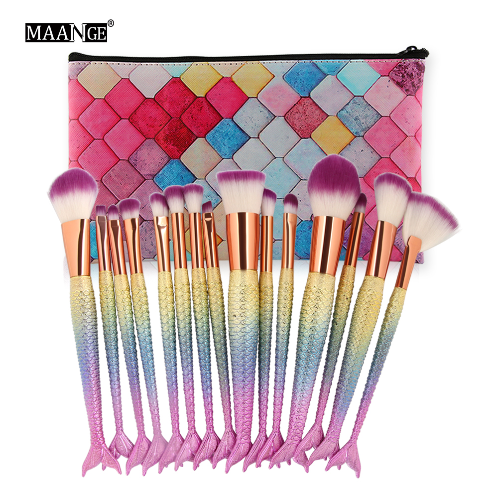 MAANGE 7-16Pcs Makeup Brushes Set Power Foundation Blending Eye Shadow Cosmetic Beauty Tool Make Up Brush Kits With New Case Bag 24pcs professional makeup natural wooden handle brushes set foundation blending brush tool make up brushes with bag sponge puff