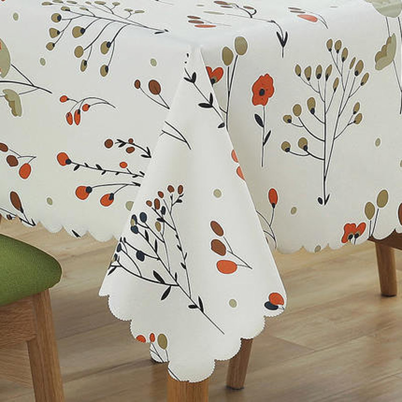 Orange Elephant Decorative Table Cloth Cotton Linen Tree Fruit Design Tablecloth Dining Table Cover For Kitchen Home Decor