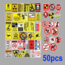 50 Stuks Waarschuwing Thema Pvc Auto Sticker Motorfiets Fiets Bagage Decal Graffiti Patches Skateboard Stickers Voor Laptop Stickers(China)