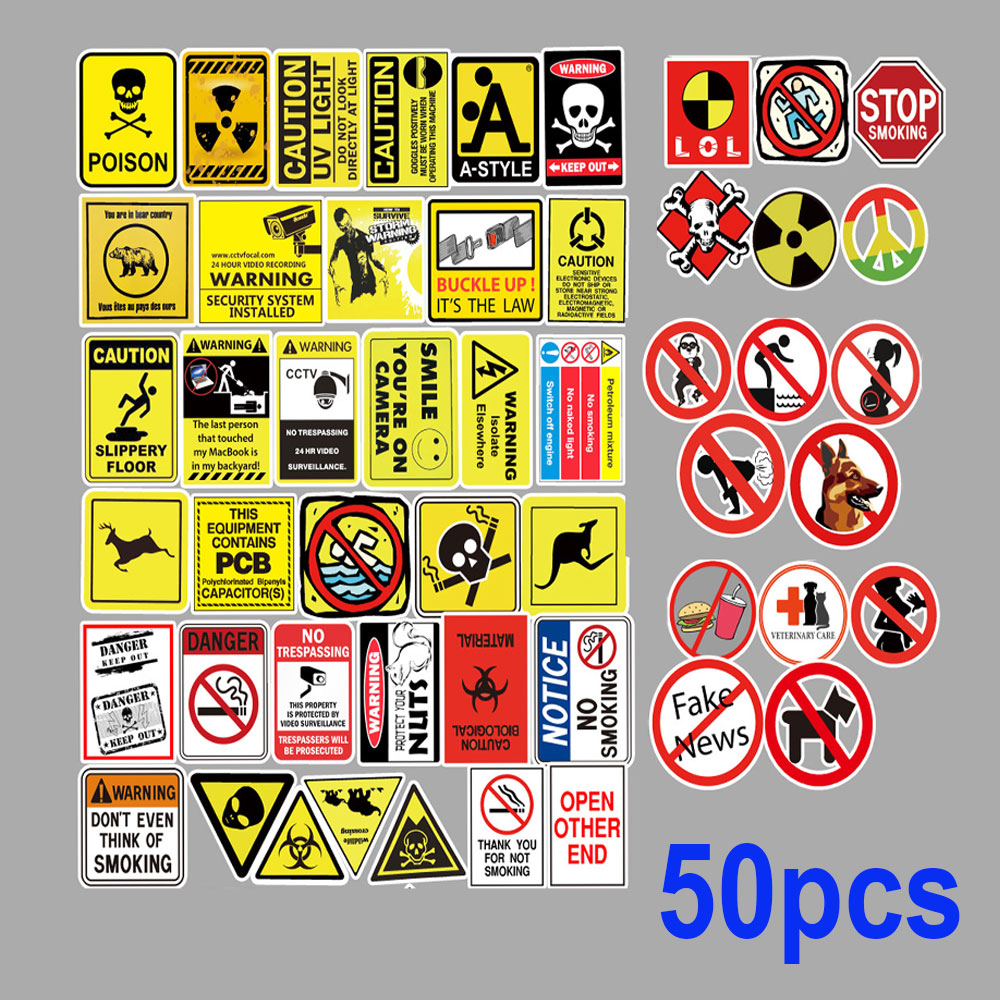 50pcs warning theme pvc <font><b>Car</b></font> Sticker Motorcycle Bicycle Luggage Decal Graffiti <font><b>Patches</b></font> Skateboard Stickers for Laptop Stickers image