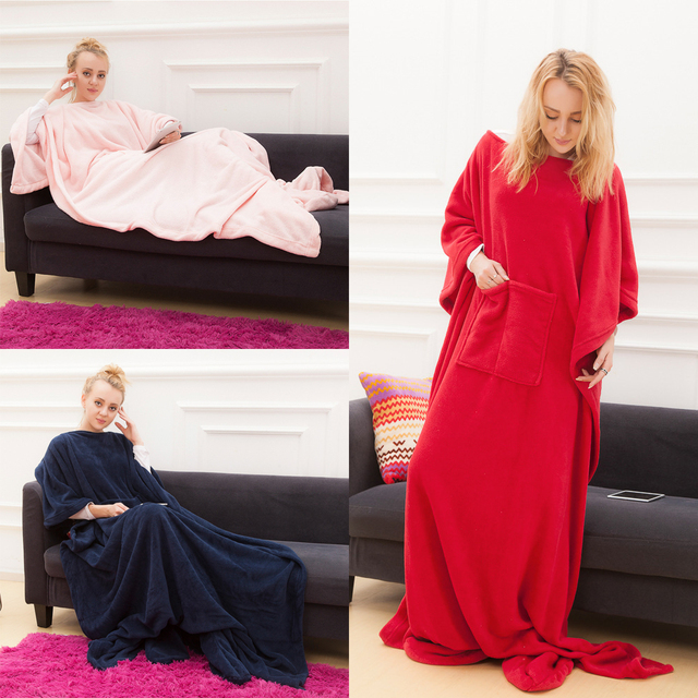 Winter Hooded Pocket Blankets Warm Soft Hoodie Slant Robe Bathrobe Pullover TV Flannel Fleece Blanket Sweatshirt With Sleeves 1