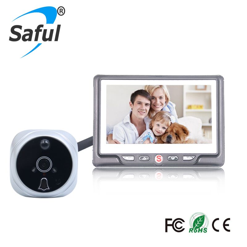 "Saful New 4.3"" LCD Color Screen 3X Digital Zoom Door Peephole Camera Wide Angle Video Recording with Night Vision Doorbell"
