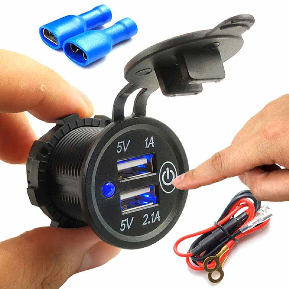 5V 2.1A/1A Cigarette Lighter Dual USB Charger Socket Outlet Power Adapter Plug With touch Switch For Car Truck Motorcycle Boat
