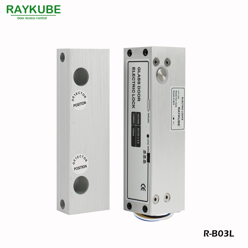 RAYKUBE Electric Bolt Lock For Frameless Galss Door Access Control System Using for Left Opening Door R-B03L glass door lock system good quality electric bolt lock for access control system 12v electric lock glass door lock