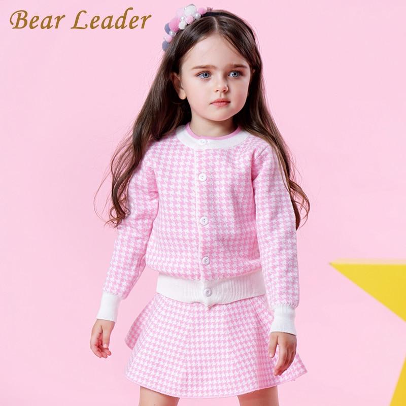 Bär Führer Mädchen Kleidung Sets 2018 Mode Mädchen Kleidung Langarm Rosa Plaid Design + Plaid Röcke 2 stücke Kinder kleidung Sets