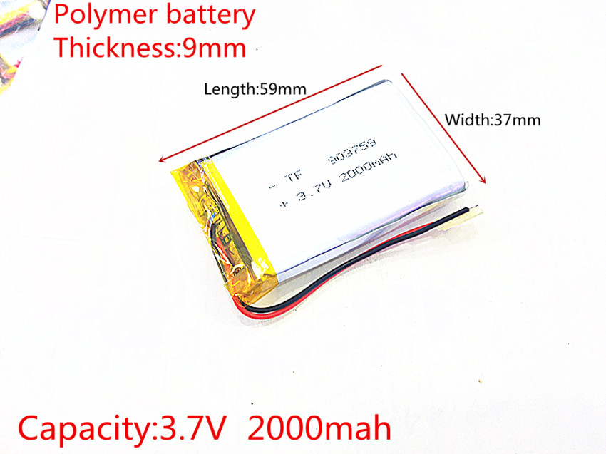 3.7V 2000mAh 903759 Lithium Polymer LiPo Rechargeable Battery ion cells For Mp3 Mp4 Mp5 DIY PAD DVD E-book bluetooth headset 3 7v 12000mah 1640138 combination rechargeable lipo polymer lithium li ion battery for power bank tablet pc laptop pad pcm board