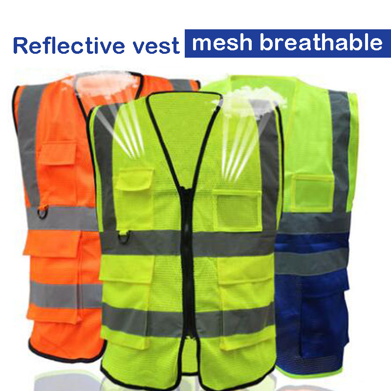 Reflective Vest Sanitation Building Construction Mesh Vest For Fast Shipping Security & Protection