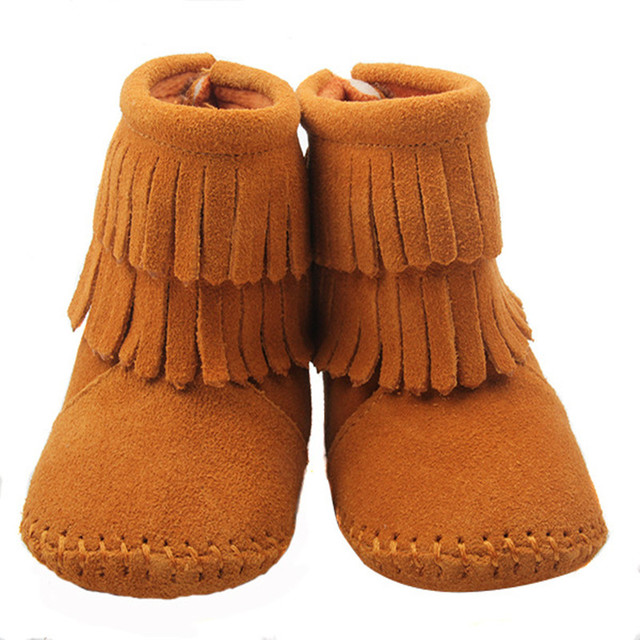 Winter Genuine Leather Infants Snow Boots Lovely Double Tassel Baby Girl First Walkers Fashion Brown Toddler Moccasins