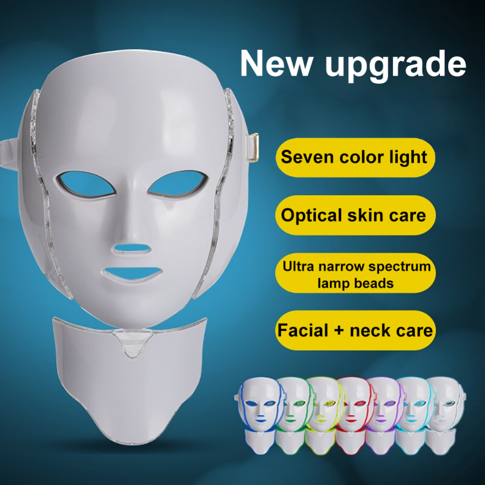 7 色ライト Led フェイシャルマスクネック肌の若返りフェイスケア治療美容抗にきび治療楽器  グループ上の 美容 & 健康 からの マッサージ & リラクゼーション の中 1