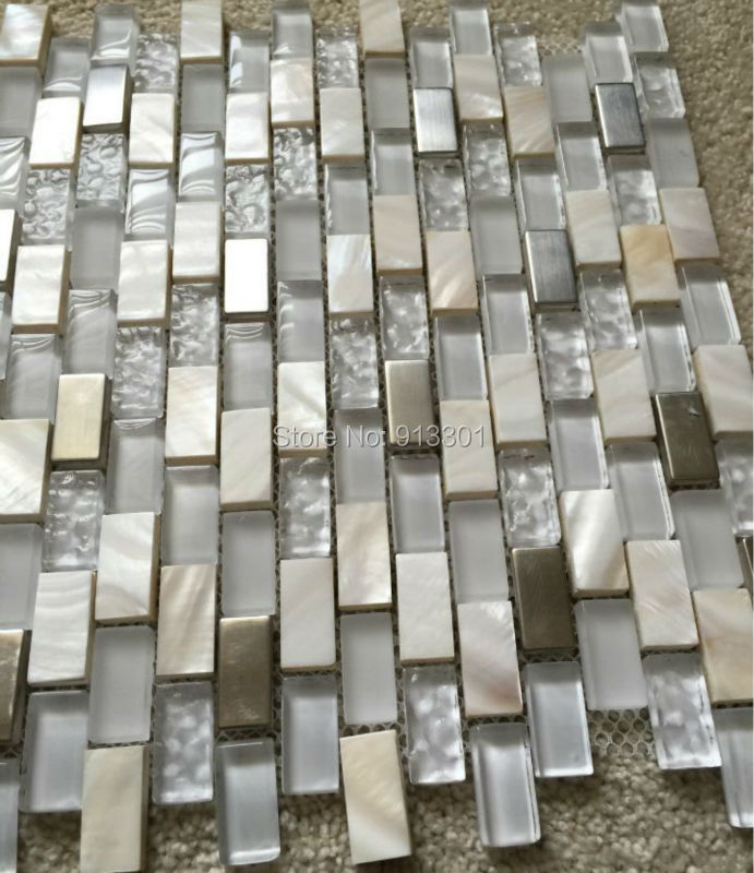 Cheap Kitchen Tile: Mother Of Pearl Mosaic Tiles Frosted Crystal Glass Tile