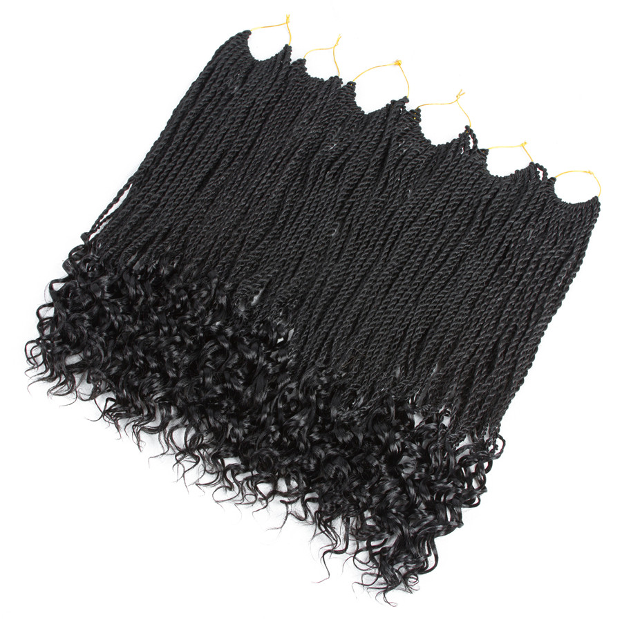ELEGANT MUSES 18inch Curly Senegalese Twist Crochet Braids Synthetic Braiding Pre-curled Crochet Hair Extensions For Women