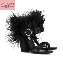 balck  Sandals Women 10cm High Heel Luxury Fur Buckle Shoes Women Thick Heels Cut Out Women Sandals Open Toe Woman Shoes