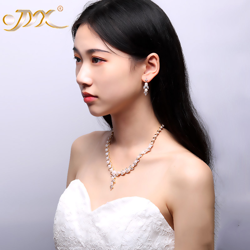 JYX Pearl Jewelry Set 4-9mm White Flat Round Freshwater Pearl Necklace & Earrings Set 16.5 jyx pearl wedding jewelry set 7 7 5mm white flat round freshwater pearl necklace