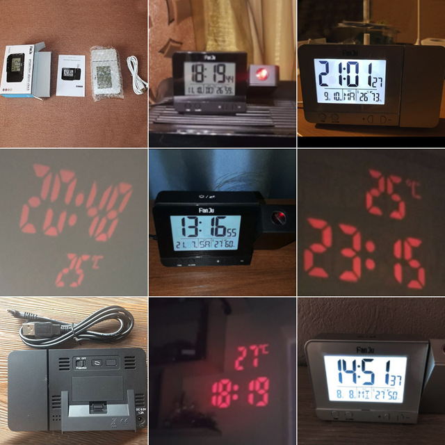 FanJu FJ3531 Projection Alarm Clock Digital Date Snooze Function Backlight Projector Desk Table Led Clock With Time Projection 6