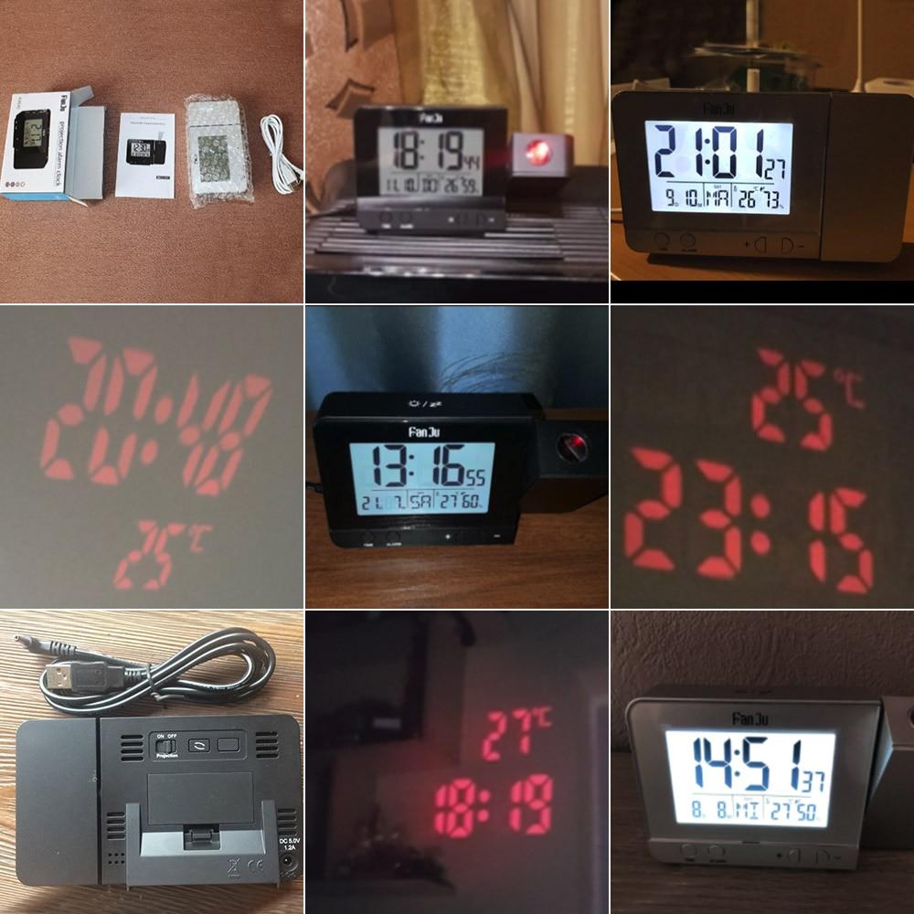 Image 5 - FanJu FJ3531 проекционный будильник цифровые часы с функцией повтора даты подсветка проектор стол настольные светодиодные часы с проекцией времени-in Будильники from Дом и животные