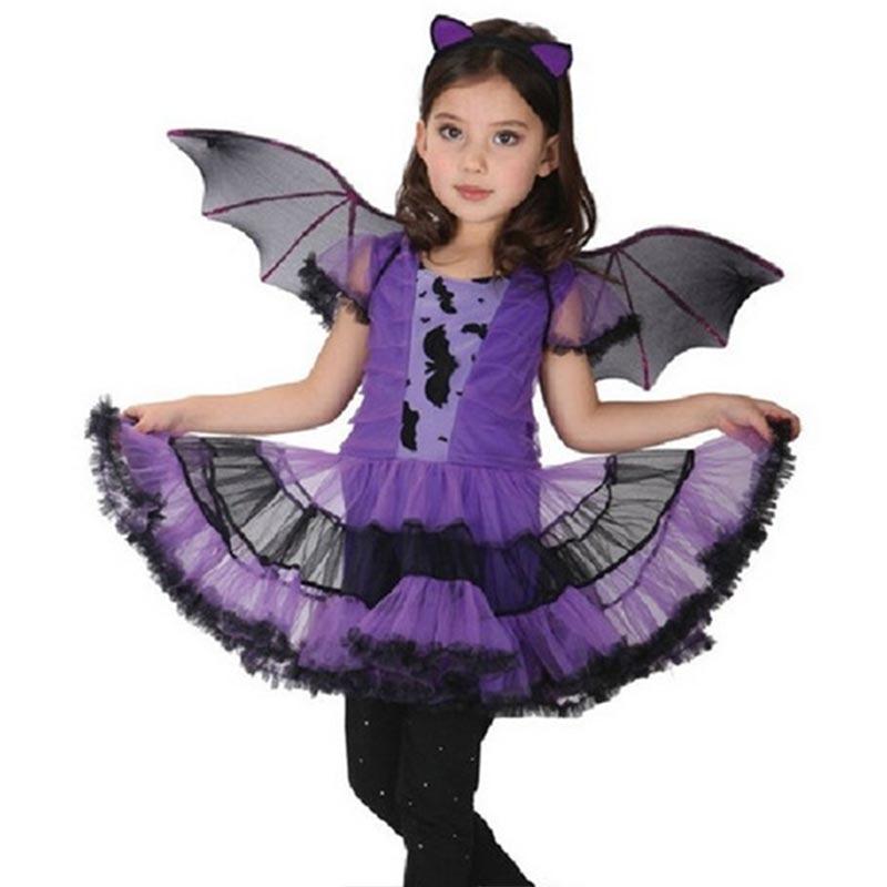 Purple Fancy Masquerade Party Girl Costume Children Cosplay Dance Dress Costumes Kids Christmas Halloween Dresses Gift FJ88
