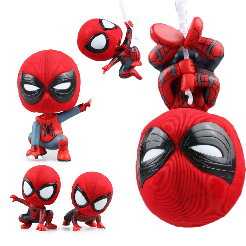 Kawaii Cute Spider Man Homecoming The Spiderman Q Version Mini PVC Figures Toys Car Home Decoration Doll 5 Styles