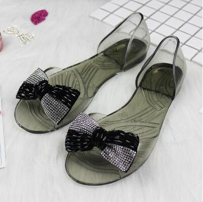 c904cf4d4fda30 Summer Women Transparent Jelly Shoes Beach Slippers Sandals Outside Diamond  Glass Slipper Jelly Shoe Butterfly Style