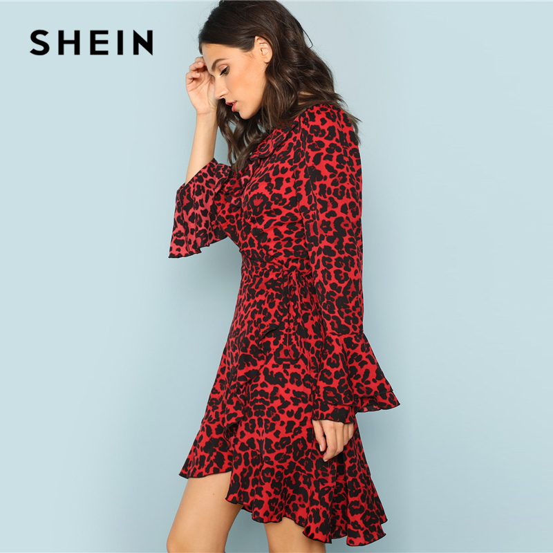 b6649a253652a SHEIN Red Leopard Print Ruffle Trim Surplice Wrap Dress Beach Vacation  Flounce Sleeve A Line Dresses Women Autumn Elegant Dress on Aliexpress.com  | Alibaba ...