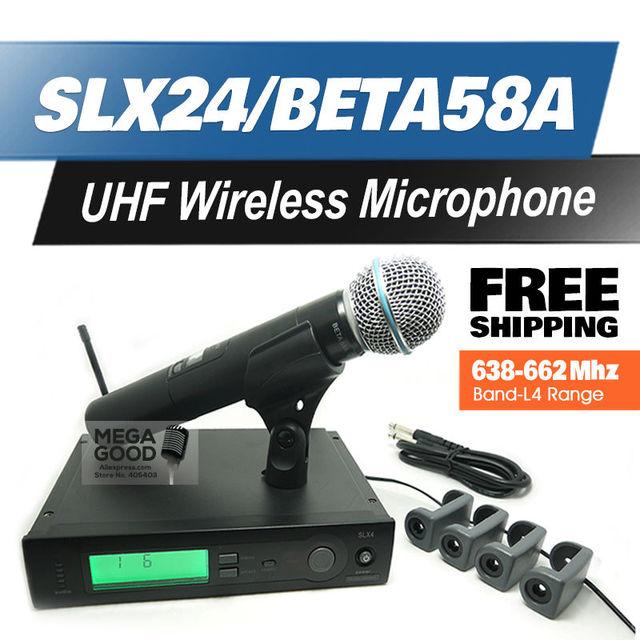 Free Shipping!! Professional UHF Wireless Microphone SLX24/BETA58 SLX Cordless 58A Handheld Karaoke System Band L4 638-662Mhz