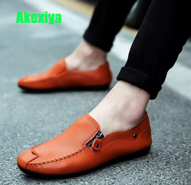 Akexiya Men Sneakers Luxury Brand Leather Casual Driving font b Shoes b font font b Men