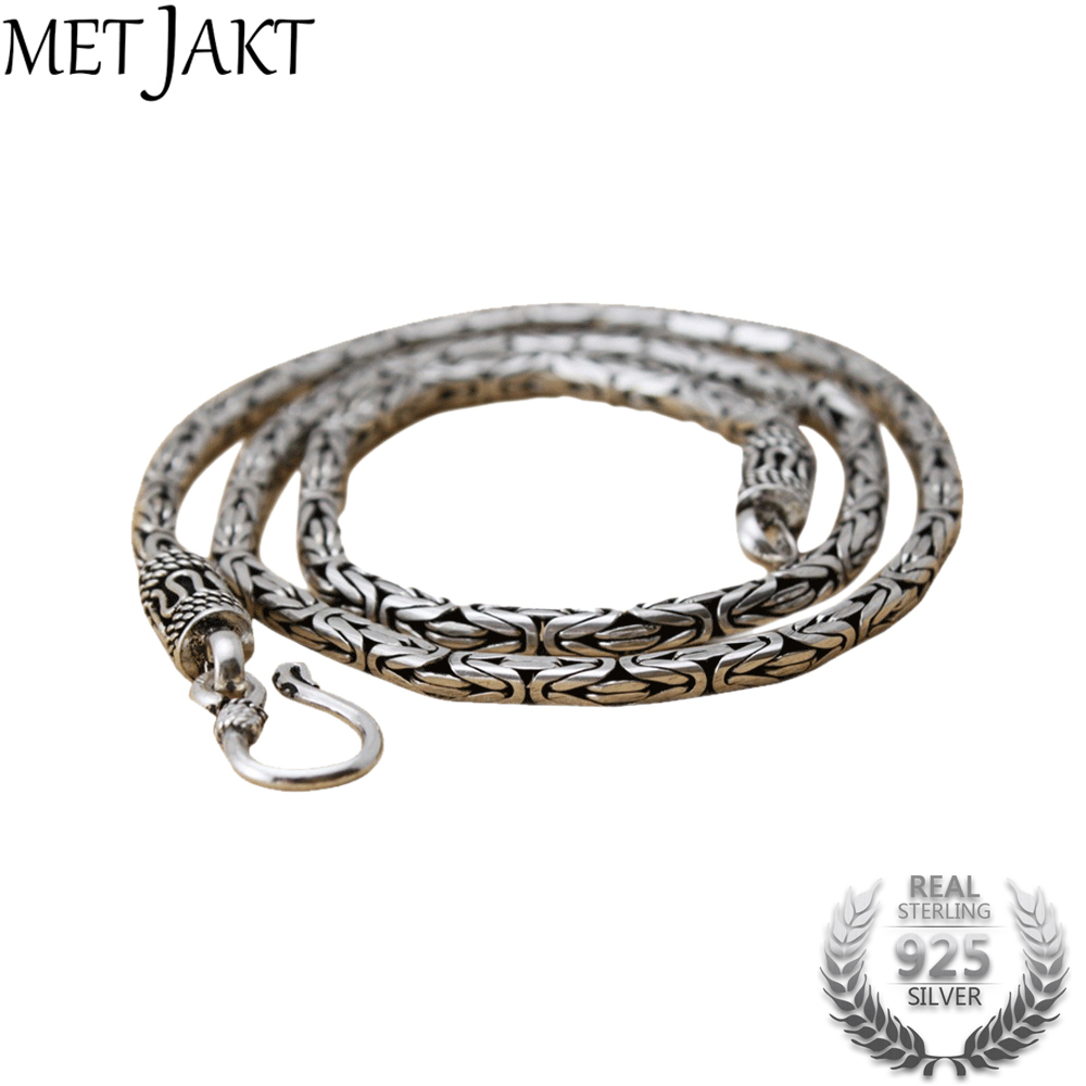 MetJakt Mens Vintage Punk Chain Necklace & Handmade Woven Necklace Solid 925 Sterling Silver Chain for Biker MenMetJakt Mens Vintage Punk Chain Necklace & Handmade Woven Necklace Solid 925 Sterling Silver Chain for Biker Men