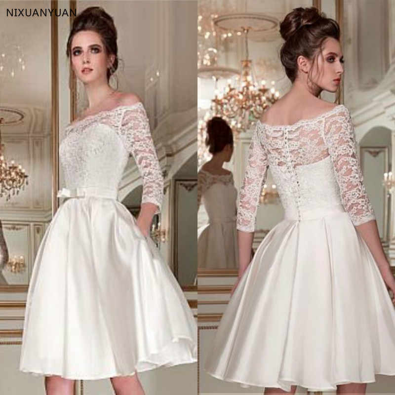 Wonderful Lace Satin Off-the-shoulder Bridal Dress Neckline 3/4 Length Sleeves Knee-length A-line Short Wedding Dress