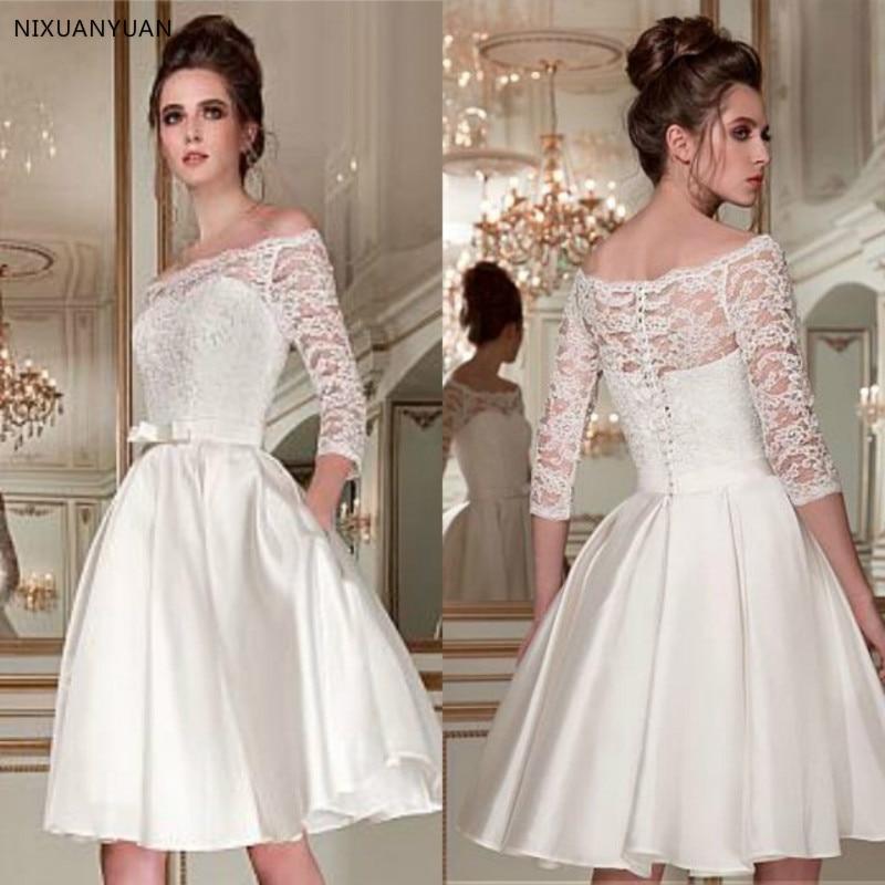 Wonderful Lace Satin Off-the-shoulder Bridal Dress Neckline 3/4 Length Sleeves Knee-length A-line Short Wedding Dress